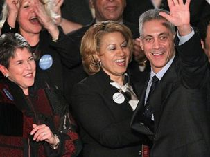 Chicago?s New First Family: Rahm Emanuel celebrates with his wife (far right), children and supporters after his win February 22, which will make him the first Jewish mayor of the Windy City.