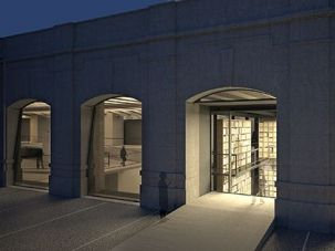 Open Secret: An artist?s rendering of a night view of the planned Holocaust memorial in Milan.