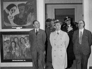 Goebbels views the ?Degenerate Art? exhibition in Berlin in 1937.