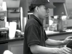 Working: Julio Torres is an employee at Cafe 76, which has recieved a Tav HaYosher.