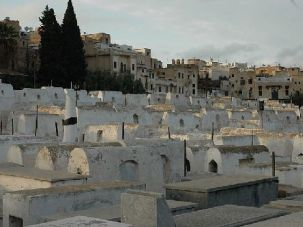 A cemetery Mellah, a Jewish quarter in Morocco.