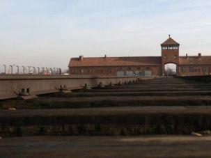 Deadly Destination: Train tracks run through the Birkenau death camp.