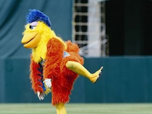 Poultry Evidence: The famed San Diego Chicken demonstrates a literal demonstration of the phrase in question.