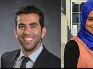 Avi Oved, the student regent-designate nominee for the University of California system, left; current student regent-designate Sadia Saifuddin, the first Muslim student representative on the board, right.