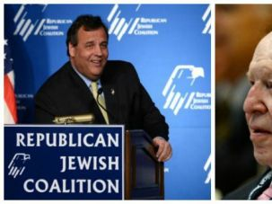 Chris Christie addresses Republican Jewish Coalition, Sheldon Adelson listens, March 29