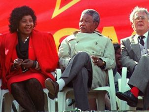 Nelson Mandela, wife Winnie Mandela and Joe Slovo, 1990