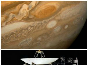 Jupiter (top), as photographed by Voyager 1 (bottom), January 1, 1979