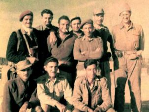 Your Country Is Safe With Us!: Officers of the 72nd Battalion includ-ing (far right) Norm Schutzman and (far left) David Apple, a non-Jewish British soldier who trained the first paratrooper battalion in Israel.
