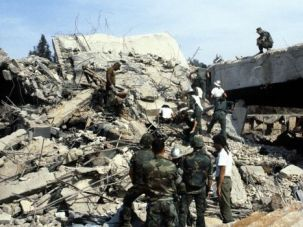 US marines search for victims, on October 31, 1983, after a terrorist attack against the headquarters of the U.S. troops.