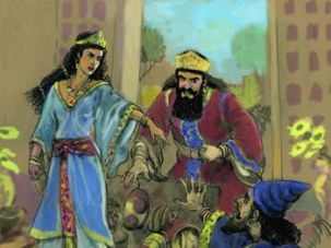 Called Out: An illustration of Queen Esther telling her husband, the king, that Haman is evil and an enemy of her people, the Jews.