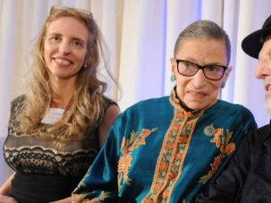 Party Like Tevye: Moment Magazine's Nadine Epstein, Supreme Court Justice Ruth Bader Ginsburg and Theodore Bikel at Bikel's birthday party in November.