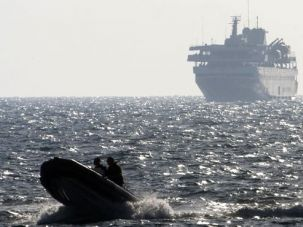 A speed boat escorted the Mavi Marmara to Ashdod, after it was commandeered by Israel?s navy