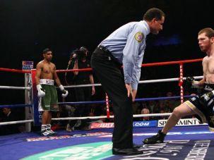 Star of David: Dmitriy Salita struggles in the ring after Amir Khan?s lightning-quick blows.