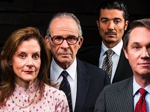 Staging a Peace Negotiation: (From left) Hallie Foote, Ron Rifkin, Khaled Nabawy and Richard Thomas star in Arena Stage?s world premiere of Lawrence Wright?s ?Camp David.?