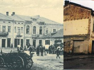 Now And Then: The central marketplace of Zbaraz, Ukraine, as depicted on a postcard in the early 20th century (left), and what the author found on the same spot in 2006 (right). The building with the arching casement windows was the Kehillah.