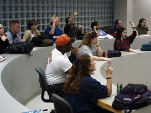 Hands up: At Gallaudet University, most classes are taught in American Sign Language. However, accommodations are made for students who are not fluent signers.