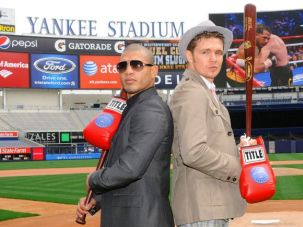 Main Event: Miguel Cotto (left) and Yuri Foreman at the site of their June 5 fight.