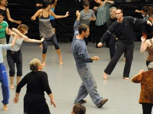 Just Dance: Ohad Naharin, center, teaches a Gaga class to non-dancers who want to learn how to move more fluidly.