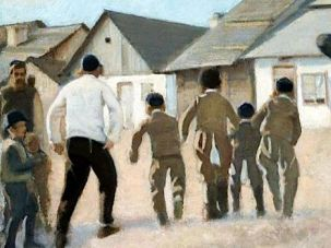 Yingl or Jungchen? Jewish boys going to school in Poland, where Eastern Yiddish was spoken, as depicted by artist Stanisław Dębicki in 1919.