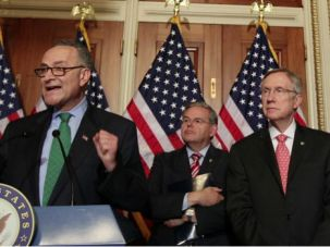 Staying Mum: Senators Schumer, Menendez, Reid and Durbin are some of the Democrats who have not been outspoken about the Iran deal.