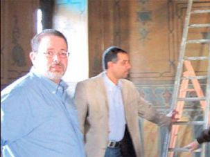 A Rabbi in Egypt: Mark Glickman (left) with Gamal Moustafa and a local worker at the Genizah.