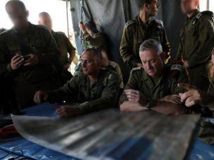 IDF Chief of Staff Benny Gantz during a surprise drill. In retaliation Gazans fired six rockets into Israel Sunday evening.