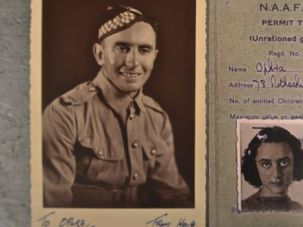 Inside the Trunk: Haig Kaplan sent a photo of himself (left) to Ophra Karin, whose picture appears on a British identification form along with her pre-Hebraicized married name, Krinsky.