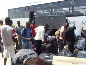 Homeward Bound?: African migrants head to Ben Gurion International Airport to be deported to their countries of origin.