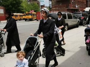 Mother?s Day: Jewish families stroll the streets of Williamsburg.