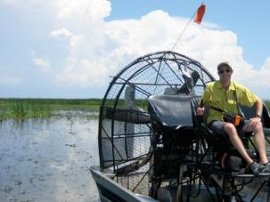 Going Green: Boaz Frankel took an airboat across Florida?s Lake Okeechobee.