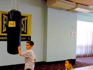 Jab, Hook: Two young patrons of Kutshers Country Club wander into Gleason?s Gym?s Fantasy Boxing Camp to practice their punches.