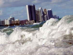 Rising Waters: Buildings are seen near the ocean as reports indicate that Miami-Dade County in the future could be one of the most susceptible places when it comes to rising water levels.