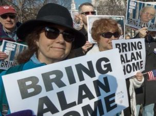Captive: Protesters rallying around the cause of freeing Alan Gross.