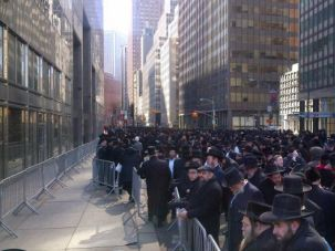 ?Evil Law:? Ultra-Orthodox Jews protest the Israeli draft bill in Manhattan on March 9, 2104.