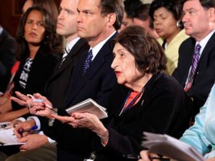 Front Seat: Reporter Helen Thomas (center) questions President Obama during a press conference on May 27.