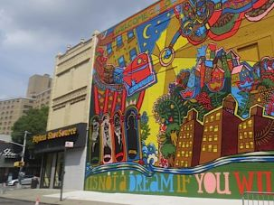 Altneuland: Theodor Herzl served as inspiration for this mural in Brownsville.