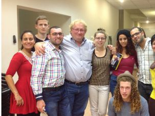 Arms Around the World: Tenenbom embraces some new friends at Hillel, an organization dedicated to helping ex-Haredi Jews.