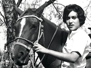 Back in the Saddle Again: Rose Sinkin's eldest daughter Nancy models the company's western wear in the late 1950's.
