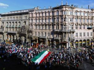 Throngs march through downtown Budapest to mark the annual March of the Living commemorating the Holocaust.