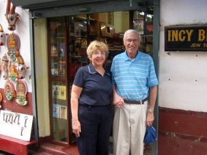 Around the World: Gerald Eskanazi and his wife, Rosalind, outside a shop in ?Jew Town? in Cochin, India.