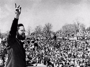 Ira Einhorn on stage at the first Earth Day rally on April 22, 1970.