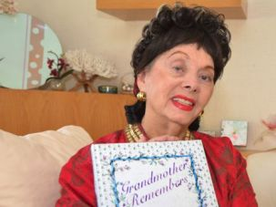 Total Recall : Levy poses with a copy of ?Grandmother Remembers.?