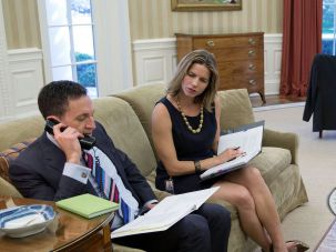 courtesy of the white house Point Man: Matt Nosanchuk (left), White House liaison to the Jewish community, listens in as President Obama holds a  conference call with rabbis at Rosh Hashanah.