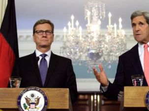 U.S. Secretary of State John Kerry (R) speaks to the media next to German Foreign Minister Guido Westerwelle after their meeting at the State Department in Washington May 31, 2013.