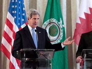 US Secretary of State John Kerry and Qatar?s Prime Minister Khalid bin Mohammad al Attiyah.
