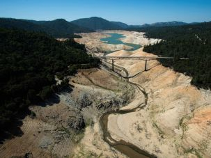 Just a few years ago, Lake Oroville, a reservoir in Northern California, was full of water. This photograph was taken in July 2014.