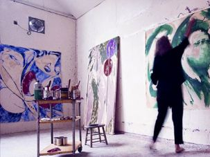 Going Green: Krasner works on the bold sweeps of her 1969 ?Portrait in Green,? at her East Hampton studio.