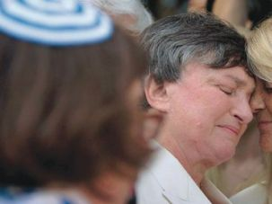 They Do: Rabbi Denise L. Eger officiates at the June 16, 2008, wedding of Robin Tyler (left) and Diane Olson, plaintiffs in the case in which California?s Supreme Court legalized same-sex marriage.