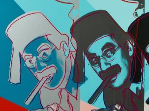 Why a Jew? A detail from Andy Warhol?s portrait of the Marx Brothers, currently on display at the Jewish Museum of Milwaukee.