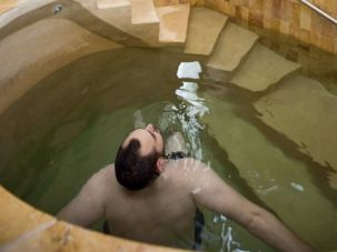 A man using the mikvah at Mayyim Hayyim, a community ritual bath in the Boston suburbs.